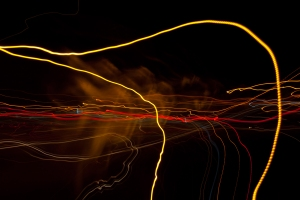 Light painting of intersection scene